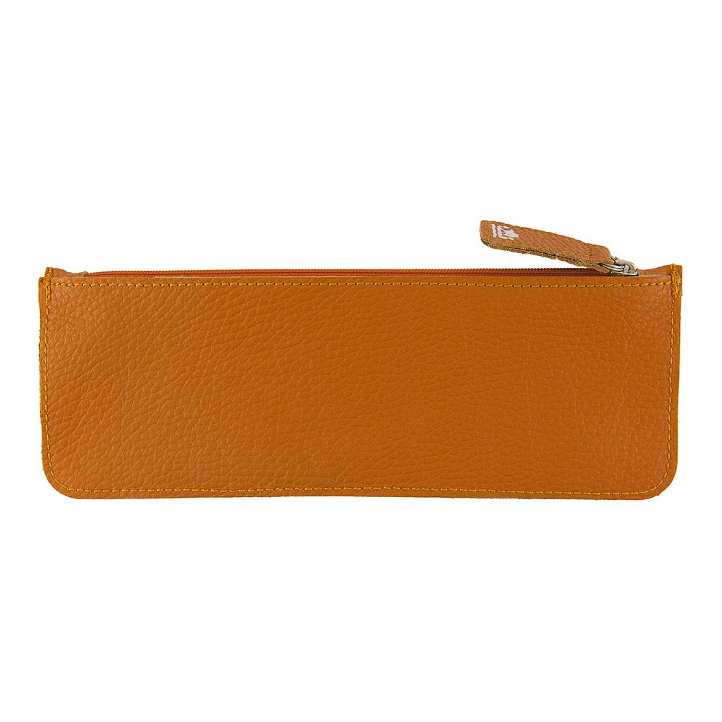 Viking classic flat pencil case embossed leather orange for Viking pencils