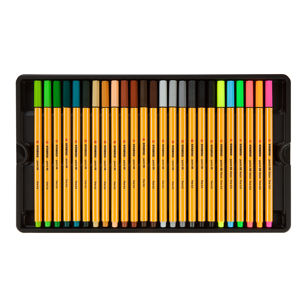 4 PACK NEON FINE LINERS Fluorescent Colouring Pens Orange Green Pink Yellow